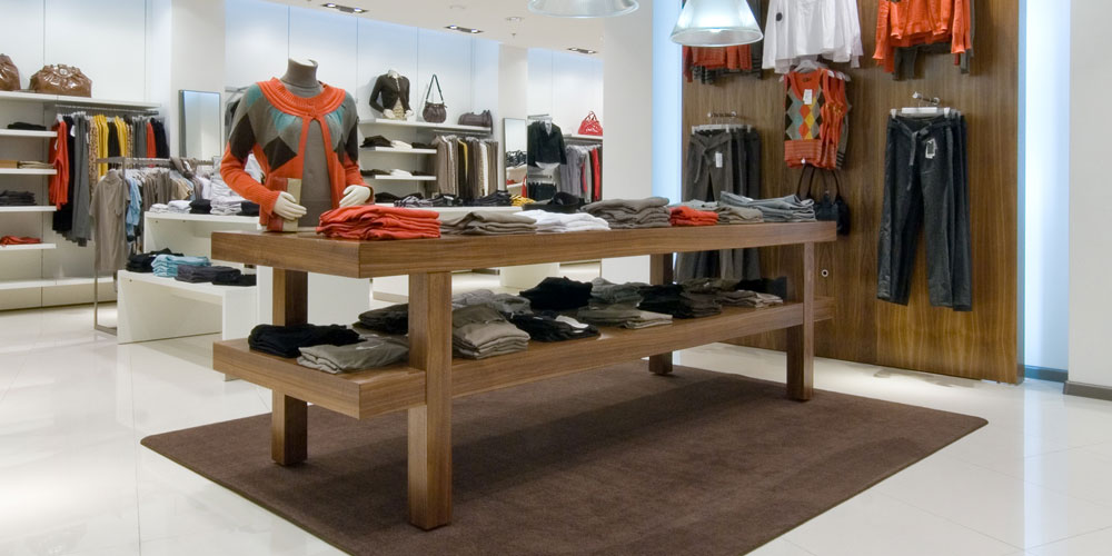 bespoke wooden furniture in retail store