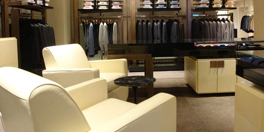 bespoke arm chairs in men's retail store